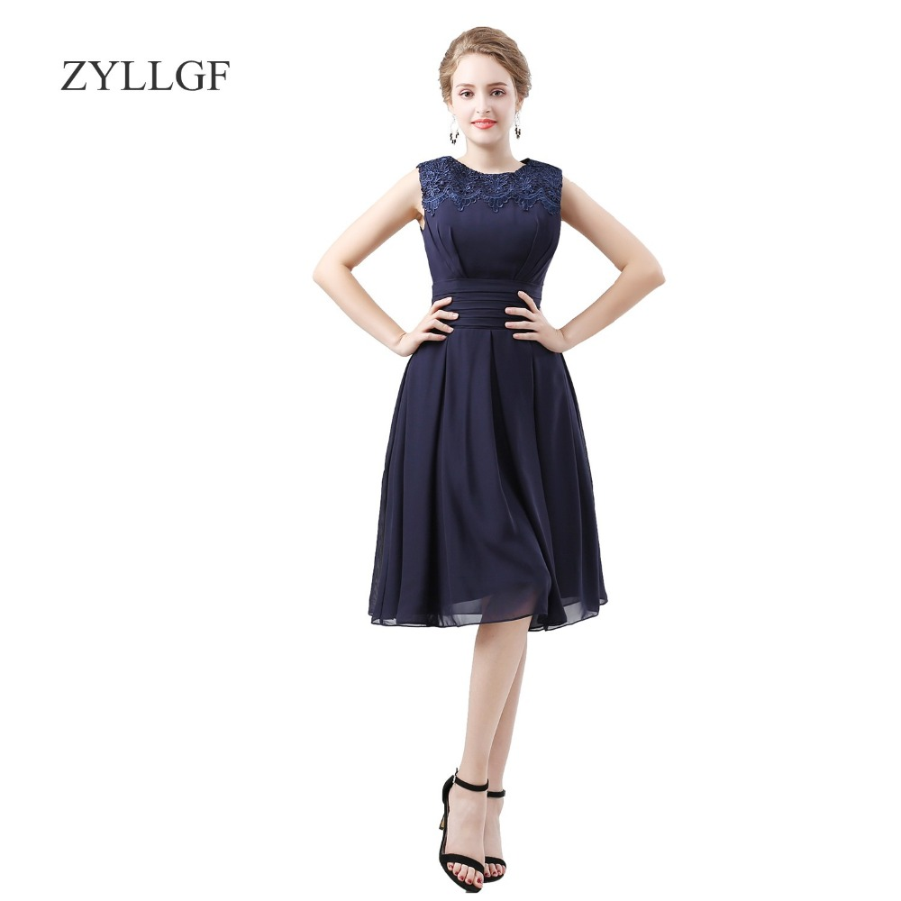 ZYLLGF Bruidsmeisjes Jurk Women Sheath O Neck Short Chiffon   Bridesmaid     Dresses   2018 Abiti Da Cerimonia Donna ZY03