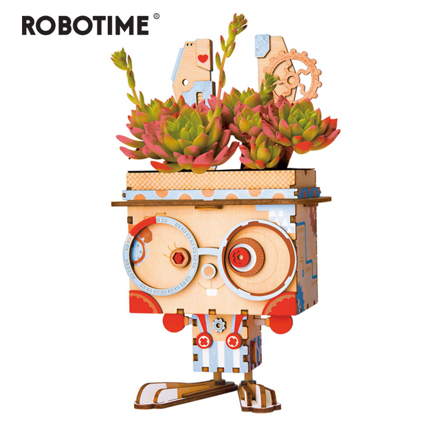 Robotime Children Adult Cute Bunny Flower Pot 3D Wooden Puzzle Game Educational Models & Building Kits Toy FT741