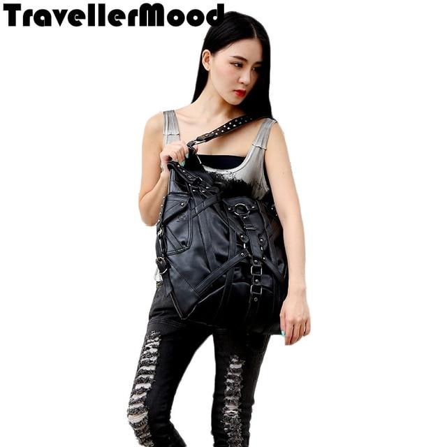 Women bag PU leather rivet punk style large capacity tote bag women messenger bags TravellerMood