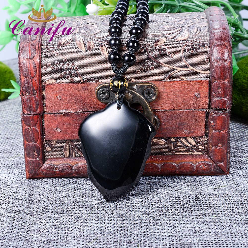 Canifu שרשרת ליף בעלי החיים חמוד 3D גילוף הטבעי השחור Obsidian תליון מזל קמע שרשרת תליונים לתכשיטי נשים