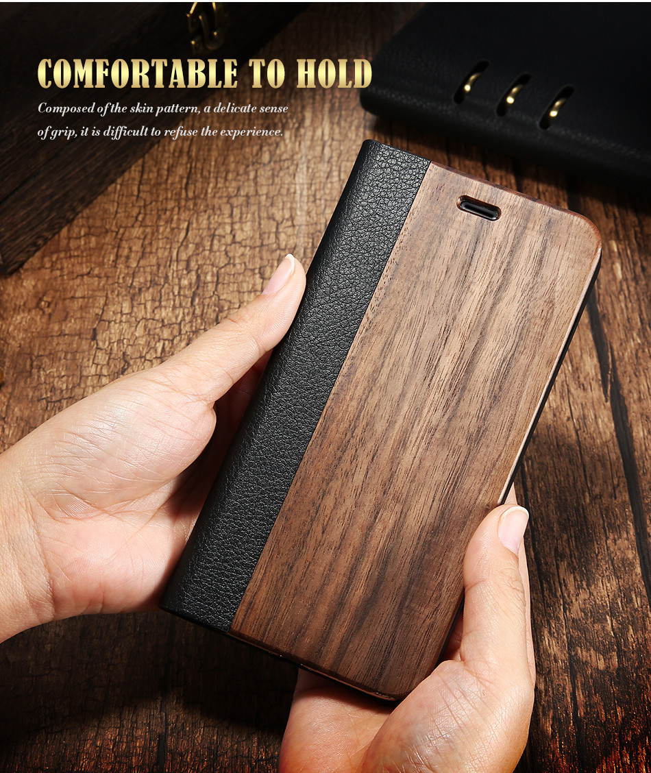 DOEES Real Wood Leather Case For iPhone 6 6S 7 7 Plus Cover Stand Holder Card Slot Vintage Cover For iPhone 6 7 Flip Wallet Case (6)