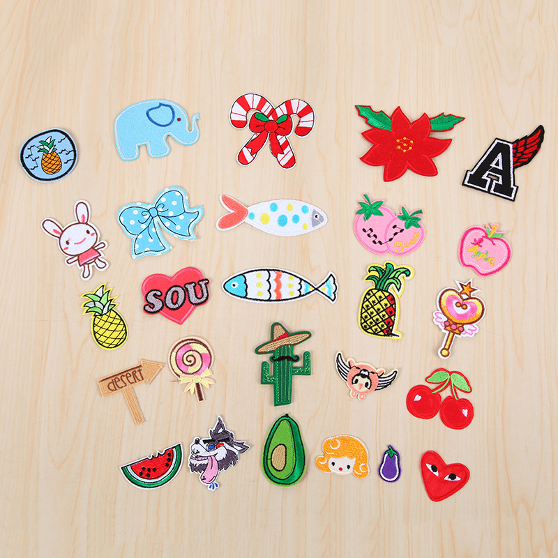 New Cheapest 20pcs/lot Cute Cartoon Embroidered Iron On Cherry Rabbit Lollipop Patches For Women Girl Child Cloth Bag Decoration
