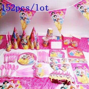 18a6916a5 Disney seis princesa diseño princesa Ariel 152 unids/lote cumpleaños  partido cumpleaños decoración rosa vajilla para niño DE PARTIDO