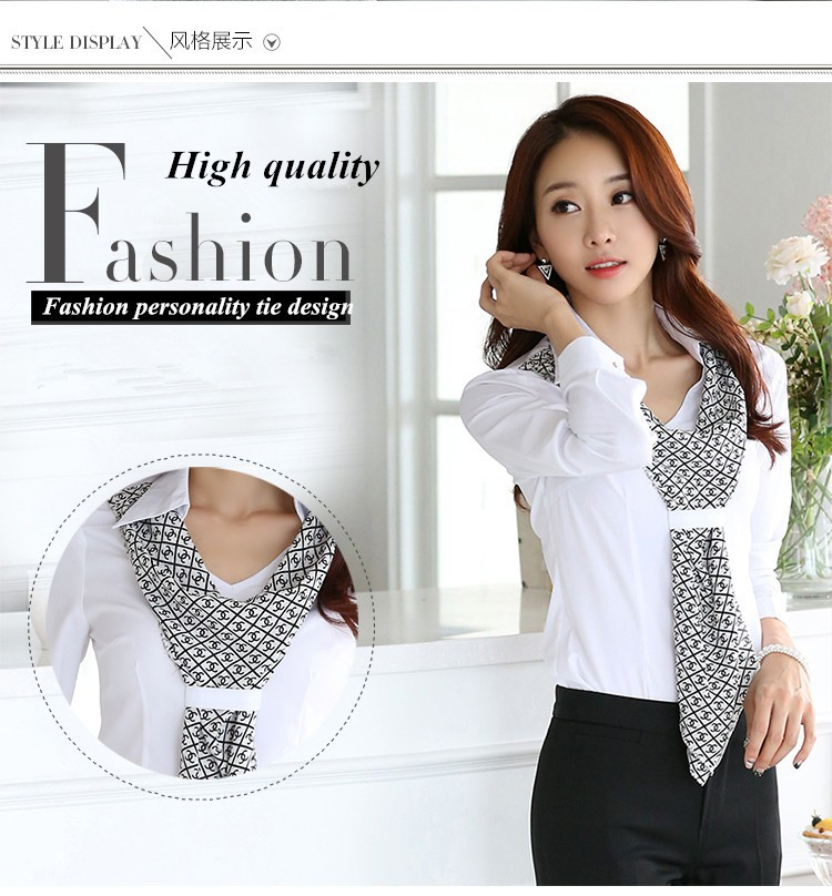 HTB1d1uoJpXXXXcrXpXXq6xXFXXXP - Women's shirt slim formal scarf collar long-sleeve blouses