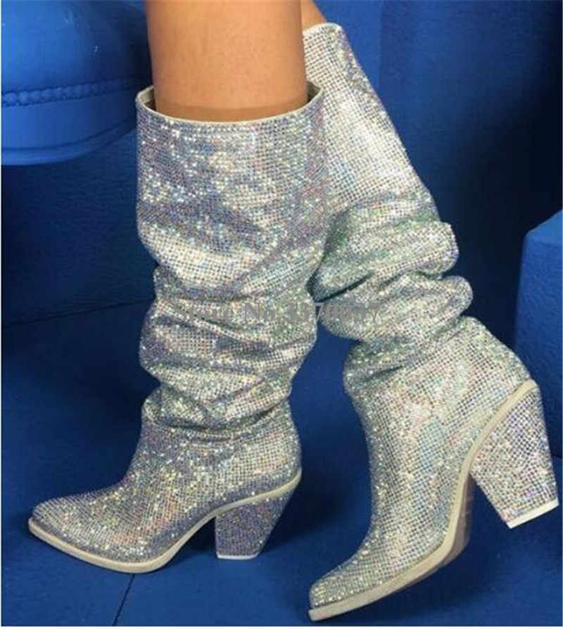 6e66ae218e9c New Design Women Luxury Pointed Toe Silver Rhinestone Thick Heel Over Knee  Boots Crystal Knight Chunky