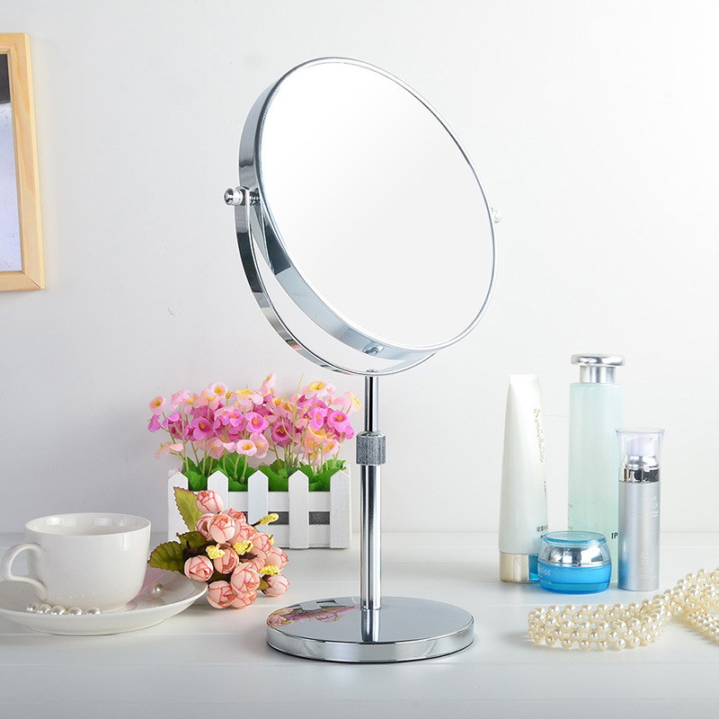 8 inchfashion high-definition desktop mirror makeup extension-type Adjust  height 2-Face metal shower mirror 3X 5X 10X zoom large 8 inch fashion high definition desktop makeup mirror 2 face metal bathroom mirror 3x magnifying round pin 360 rotating
