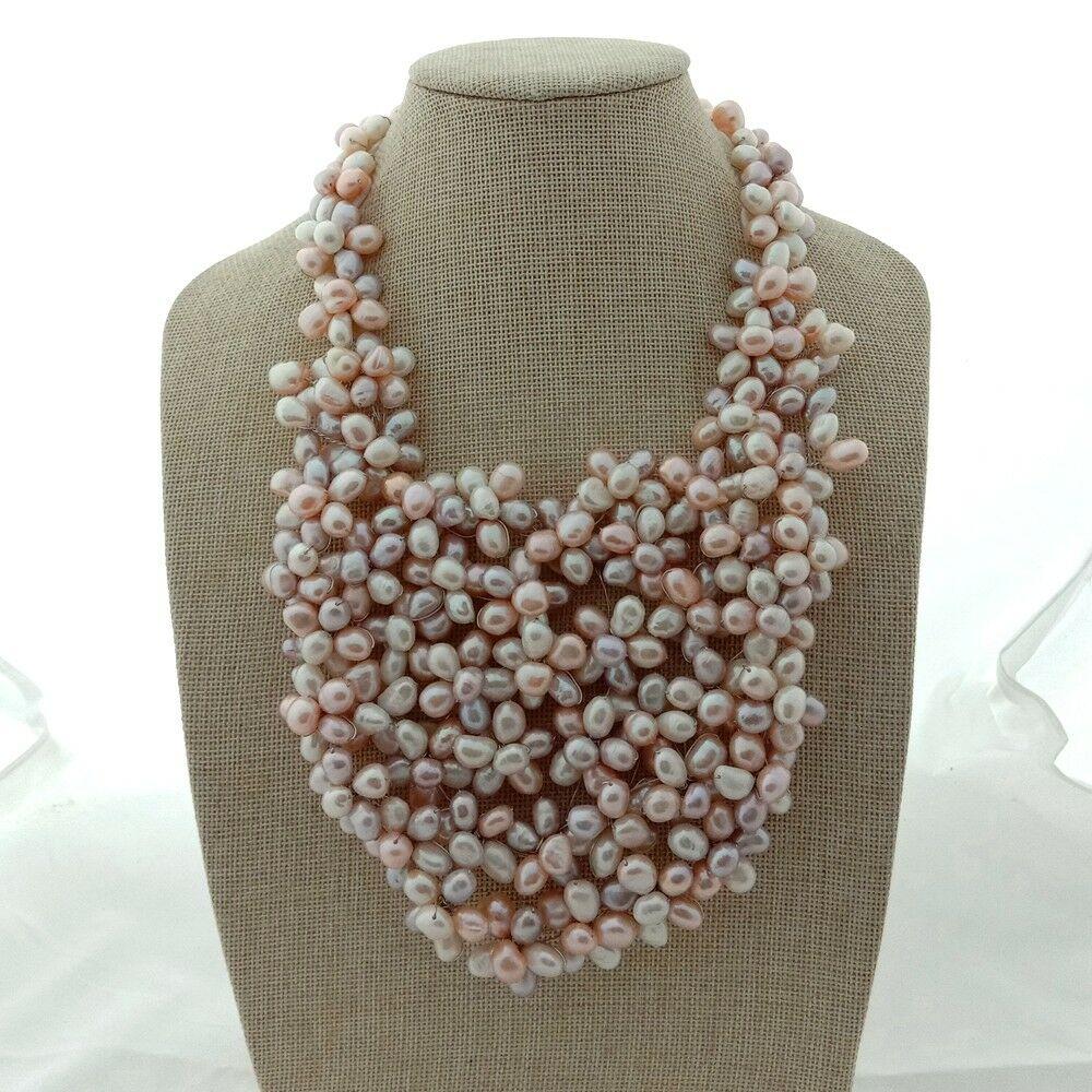 Collier de perles baroques multicolores de 18''