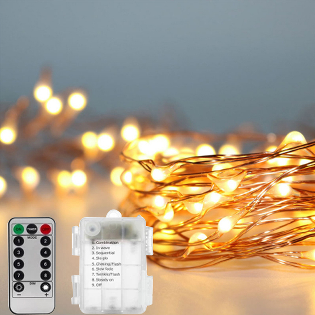 5m 10m Waterproof Battery Operated 8 Mode Timed Control Dimmable Copper Wire Firefly String Lights Warm White
