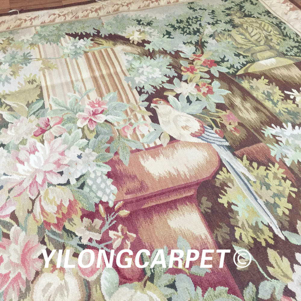 Yilong 4.2'x5.6' Wall hanging tapestry pure 100% wool french hand woven aubusson tapestry (Au32 4.2x5.6) - 3