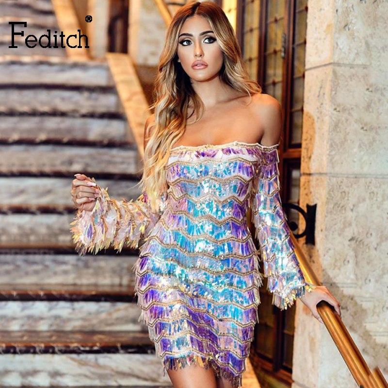 Feditch 2019 New Sexy Off Shoulder Sequin Tassel Dress Women Party Mini Dress Elegant Long Sleeve