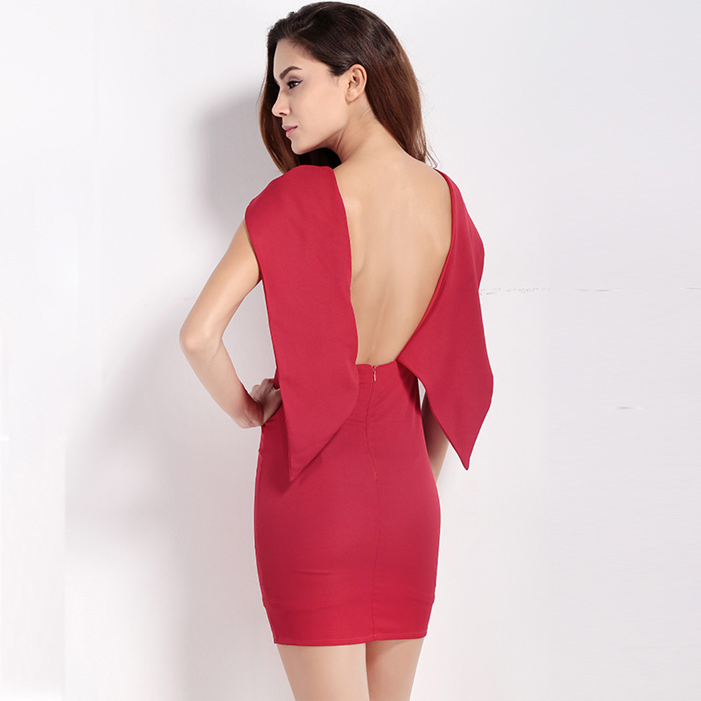 6188e60bc9935 MY MAYAASOS 2017 Office Lady Fashion Women Solid Red Sleeveless Sexy  SlimVestido Prom Mini Dress Cape Bodycon Backless Dress-in Dresses from  Women's ...