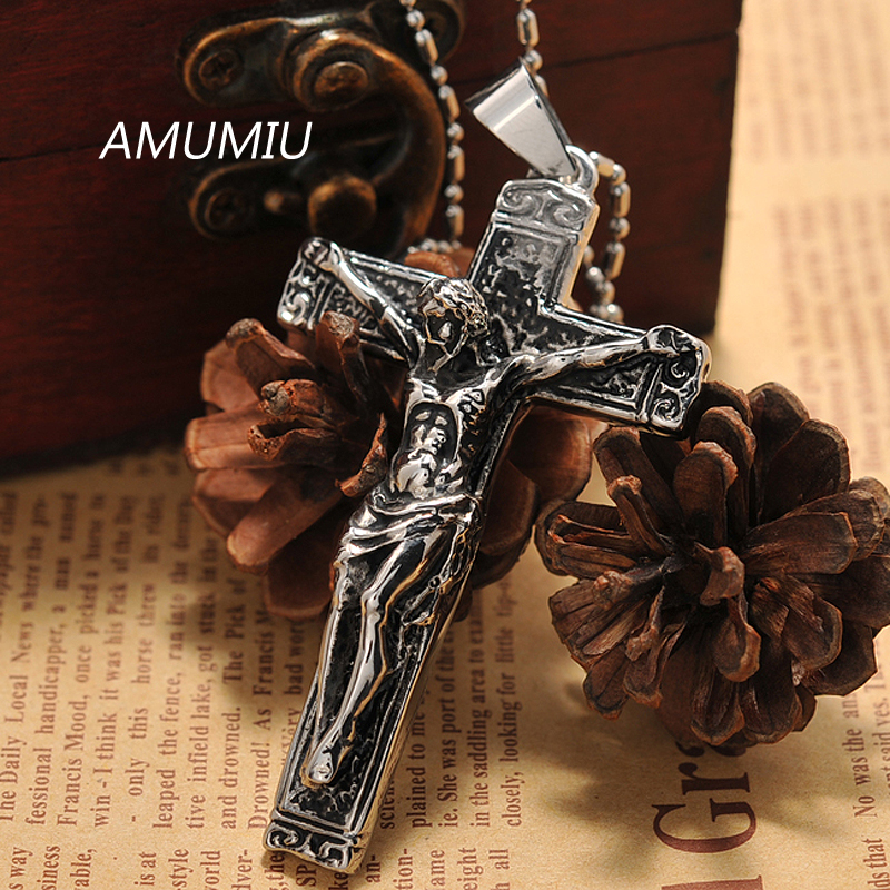 AMUMIU jesus cross with chains Stainless steel mens jewelry crucifix - Fashion Jewelry - Photo 4