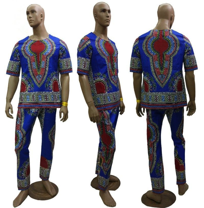 2019 New <font><b>african</b></font> 100% <font><b>wax</b></font> batik fabric Dashiki dresses suit T-<font><b>shirt</b></font> and pants for Adult <font><b>african</b></font> traditional clothing bazin riche image