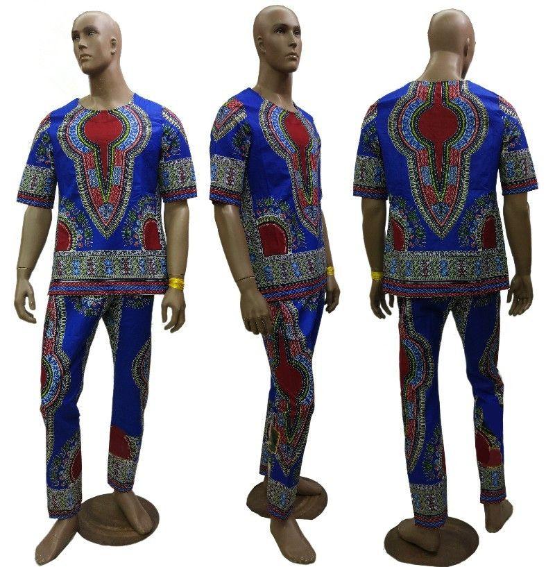 2019 nouveau africain 100% cire batik tissu Dashiki robes costume T-shirt et pantalon pour adulte africain traditionnel vêtements bazin riche
