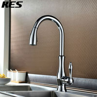 KES Brass Singel Lever High Arc Pull Down Kitchen Faucet With Retractable Pull Out Wand Swivel