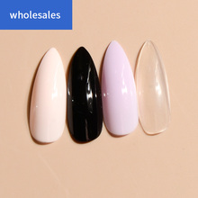 WHS-extremely long stiletto nails fake solid color black pink purple and clear false nail tips 24PCs
