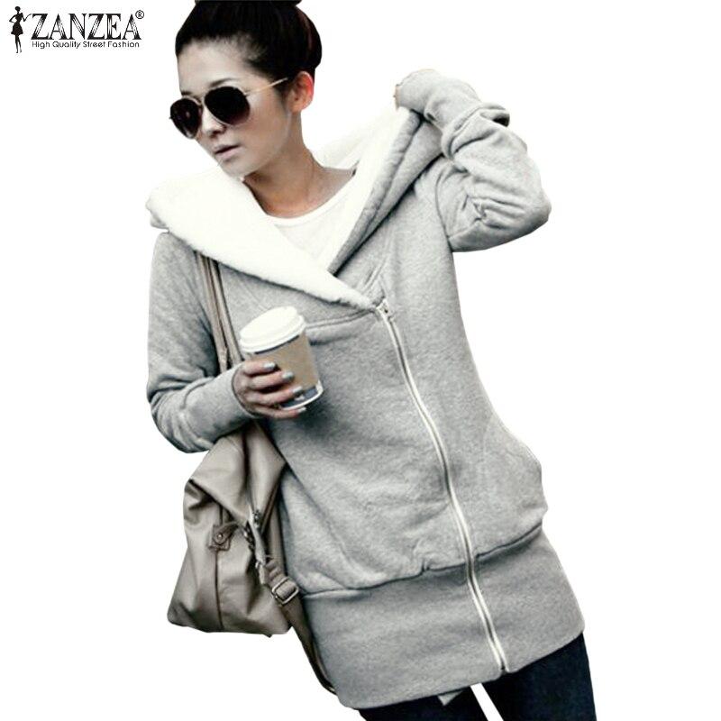 933caeb7af Zanzea chaqueta Sudaderas sudaderas de lana abrigo 2018 mujeres de invierno  cálido algodón cremallera prendas de vestir exteriores delgada Sudadera con  ...