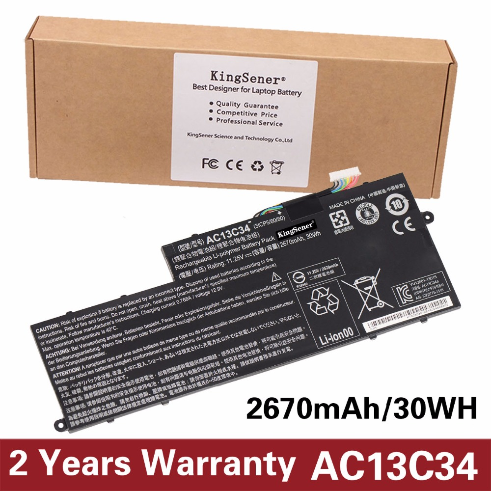 KingSener New AC13C34 Battery For Acer Aspire V5-122P V5-132 E3-111 E3-112 KT.00303.005 31CP5/60/80 11.25V 2670mAh/30WH 14 touch glass screen digitizer lcd panel display assembly panel for acer aspire v5 471 v5 471p v5 471pg v5 431p v5 431pg