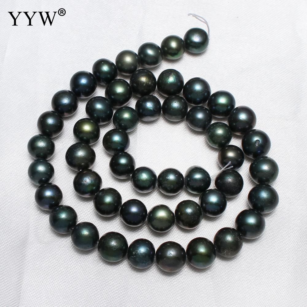 ea7fde306393 8-9mm verde oscuro Natural de agua dulce de la perla cuentas barroco suelta  perlas capítulo 14