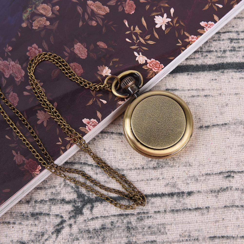 Vintage Style Steampunk Beige Dial Roman Numbers Small Pocket Watch Necklace Pendant