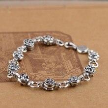 GZ Стерлингового Серебра 925 S925 Тайский Серебро 8 мм ширина 20 см Крест Якорь Цветок Шарм Браслеты для Женщин ювелирные изделия