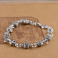 GZ 925 Sterling Silver Bracelet S925 Thai Silver 8mm width 20cm Cross Anchor Flower Charm Bracelets for Women Jewelry