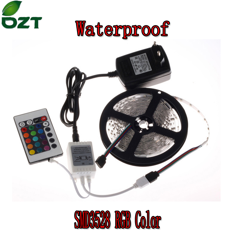 RGB LED Strip 5M 300Led 3528 SMD Vanntett 24Key IR Fjernkontroll 12V 2A Strømadapter Flexible Light Led Tape Lampe