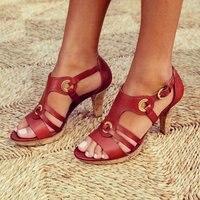 HEFLASHOR/Женская обувь на высоком каблуке туфли-лодочки женские сандалии повседневная женская обувь с ремешком на щиколотке, без застежки, с пр...