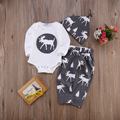 3Pcs Baby Boys Girls Christmas Outfits Babies Boy Girl Reindeer Bodysuits+pants+hat Set Outfit Xmas Clothes