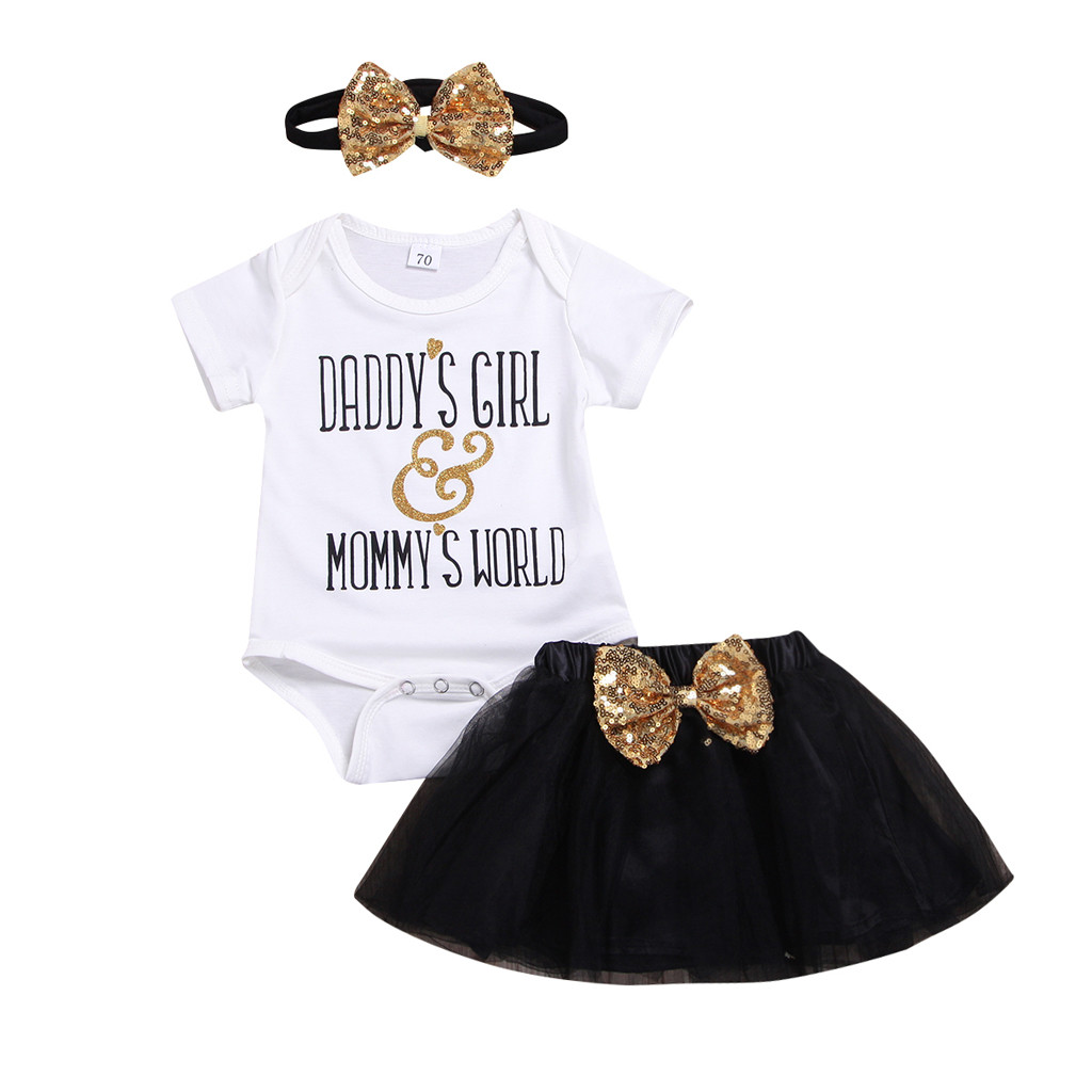 Clothing Sets Competent Arloneet Baby Girls Summer Clothes Set Short Sleeve Fathers Day Letter Print Harbin Bow Sequined Mesh Skirt Hair Strap Set Great Varieties