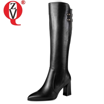 ZVQ hot sale new fashion high quality genuine leather women shoes pointed toe high square heel zip winter warm knee high boots