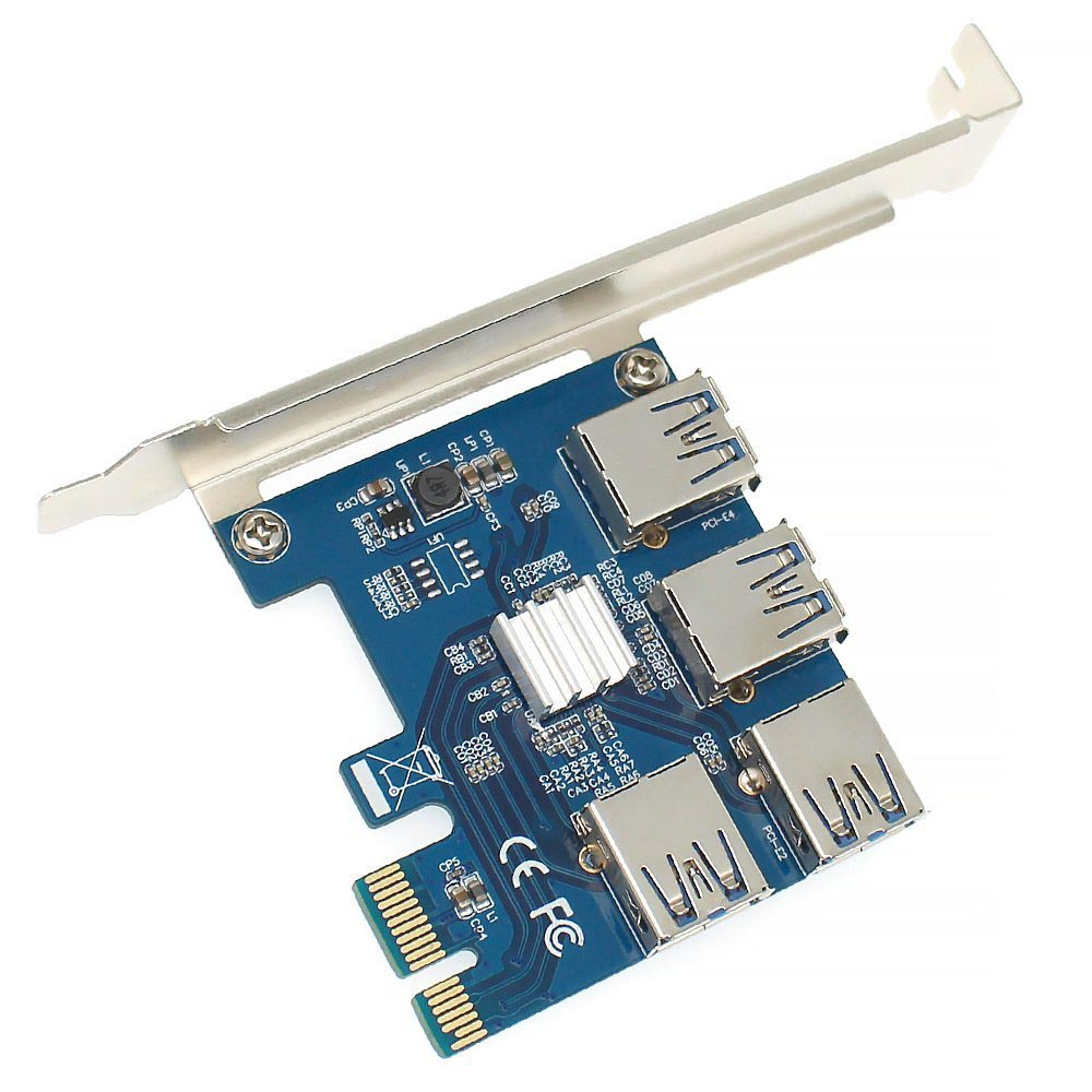 PCIE 1 TO 2/4 PCI Express 1X Slots Riser Card Mini ITX To External 4 PCI-E Slot Adapter PCIe Port Multiplier Card For BTC LTC