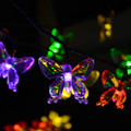 Lámparas solares 7 M 40 LEDs de Colores Mariposa Guirnalda Luces de Hadas Impermeable Al Aire Libre Jardín Solar Led Luz de La Decoración de Navidad