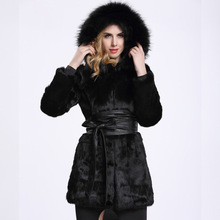 long Slim genuine rabbit fur coat  whole skin with fox fur collar hooded