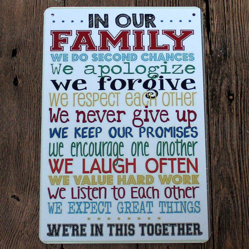 Metal Signs Home Decor wood signs rustic family sign family sign rustic wood sign rustic home Family Rules Vintage Metal Sign 2030 Shabby Chic Tin Sign Home Decor Bar Cafe