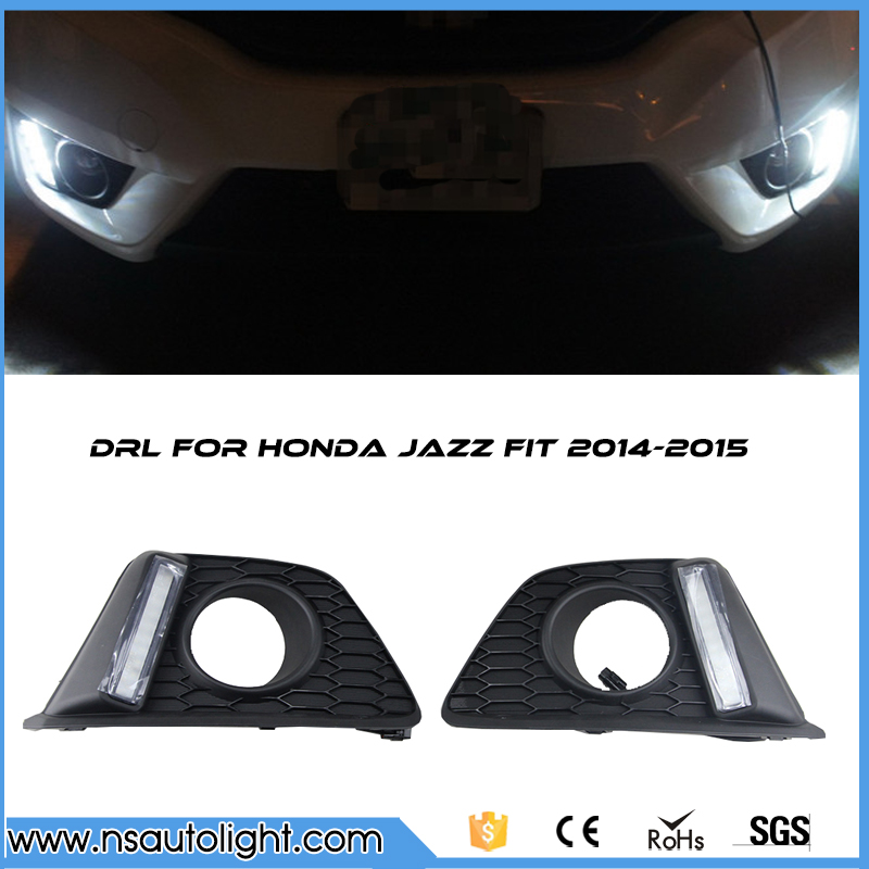 Car auto parts LED DRL  light  led Daytime Running Light external front headlight for Honda Jazz Fit 2014-2015 free shipping