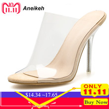 1157cfb872 Aneikeh Grande Sapato 42 2018 PVC Geléia Sandálias de Dedo Aberto sapatos  de Salto Alto Mulheres Sandálias Chinelos Calcanhar Sa.