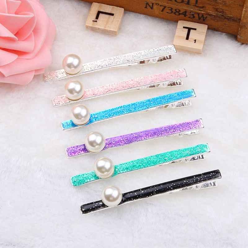 Корейская Милая длинная полоска для девочек, зажим «утиный клюв», мерцающий карамельный цвет, каплевидное масло для женщин, заколка для волос из искусственного жемчуга, бисерные заколки для укладки волос