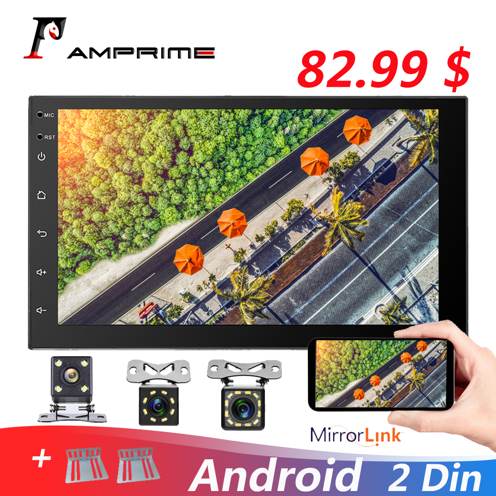 AMPrime Android 2 din Car Radio 7'' Multimedia Player Universal GPS DAB+ Receiver Tape Recorder Audio Stereo Support Mirror Link