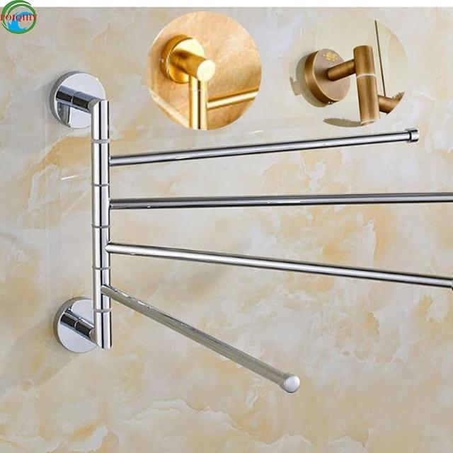 Bathroom Kitchen Rotating Towel Holder 4 Movable Rod Bar Belt Rack Commercial Accessories