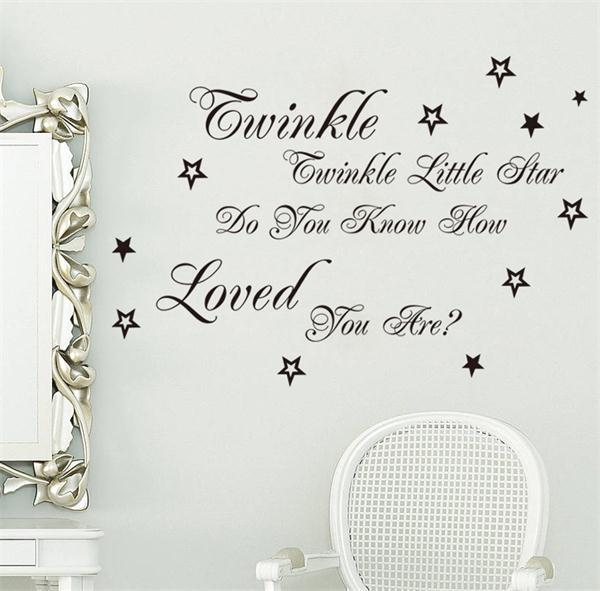 Popular Song Twinkle Twinkle Little Star Lyric Quote Wall Stickers Home  Decor Vinyl Home Decoration Wallpaper Part 34