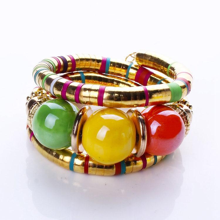 Vintage Boho Femmes Multicouche Grosse Boule Perles Wrap Bracelet Large Bracelet Femelle Plaqué Or Indien Bijoux