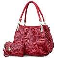 Borse de cocodrilo de Las Mujeres Totes Señora Bolso + bolso/cartera Carteras de Mujer de Gran Capacidad de Bolsa de Hombro Blanco Negro Kit 2 bags/sets