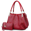 Crocodile Borse Women Totes  Lady Handbag+purse/wallet Carteras Mujer Big Capacity Black White Shoulder Kit  Bag 2bags/sets