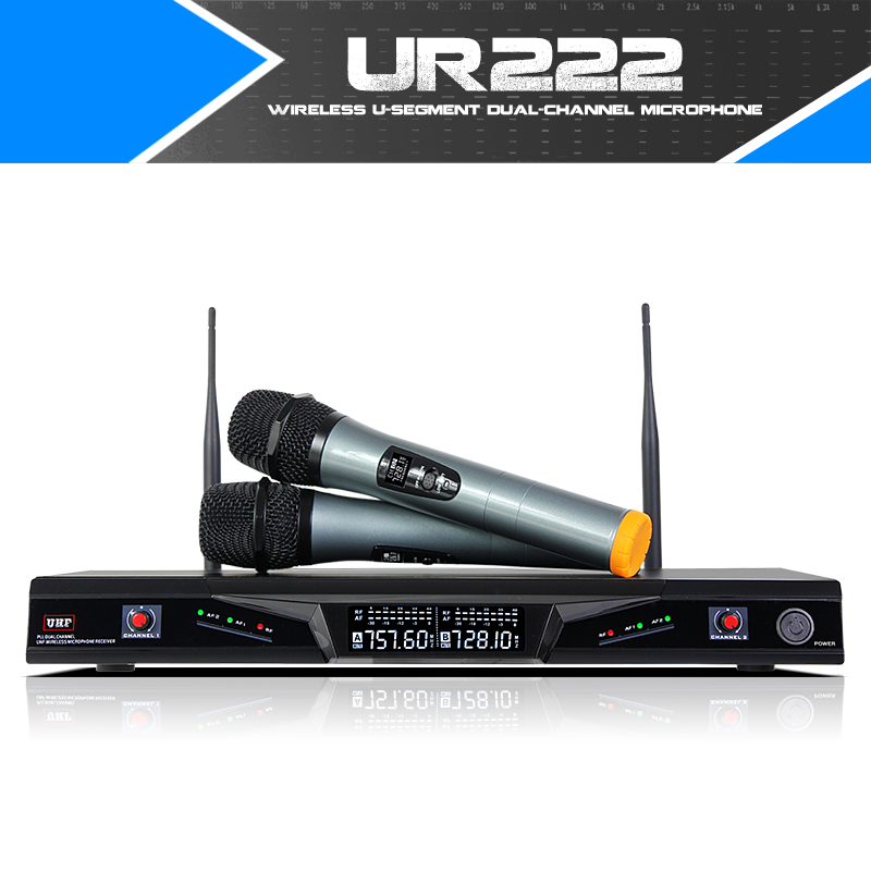 Free Shipping! Fuluode UR222 duel with lcd receiver vhf receiver dual channel wireless microphone system new restaurant equipment wireless buzzer calling system 25pcs table bell with 4 waiter pager receiver