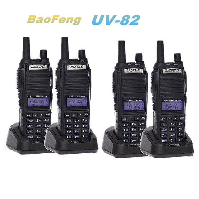 4-PCS Nueva Negro Baofeng UV-82 Radio de Dos Vías VHF de Banda Dual/UHF137-174/400-520 MHz Walkie Talkie con El Envío Libre/Auricular