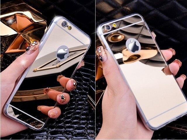 De luxe Miroir Souple Effacer TPU Case Pour iPhone 7 7 Plus & iPhone 6 6 Plus 5se 5S 5 Couverture Arrière