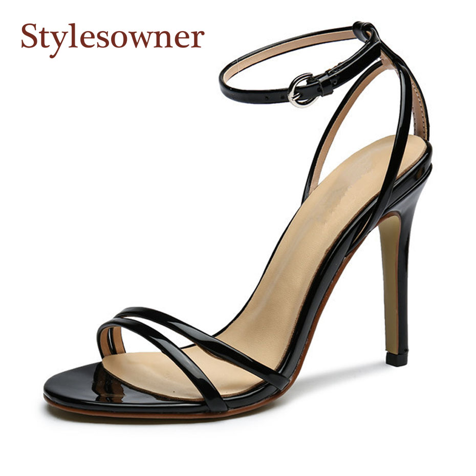 Stylesowner black patent leather all match summer sandal shoes for women sexy narrow band ankle buckle strap stiletto heel pumps stylesowner elegant lady pumps sandal shoe sheepskin leather diamond buckle ankle strap summer women sandal shoe
