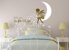 African Fairy Wall Decal I Love You To The Moon Nursery Art Vinyl Sticker For Girl Bedroom Afro N-42