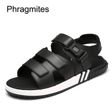 Phragmites 2019 New European Brand Shoes Leather Black Men Sandals Plus Size 46# Summer Slippers Open Toe Classic  Soft Sandal